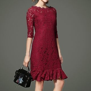 Elbow-Sleeve Lace Sheath Cocktail Dress 1064354514