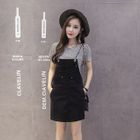Denim Pinafore Dress / Set: Striped Short-Sleeve T-Shirt + Pinafore Dress 1596