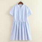 Short-Sleeve Tie Waist Dress 1596