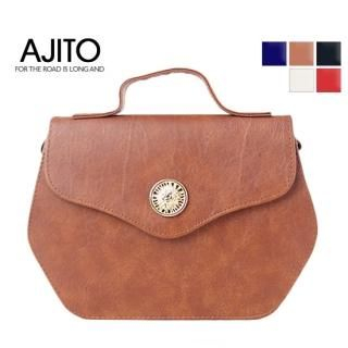 Buy AJITO Faux-Leather Handbag with Cross Strap 1023061441