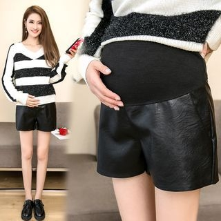 Faux-Leather Maternity Shorts 1062807932