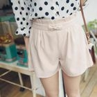 Bow-Accent Pleated Shorts 1596