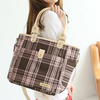 Buy SkyBlue Convertible Plaid Canvas Tote 1022990168