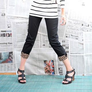 Buy YoungBaby Leopard Print Cuff Capri Pants 1021528911
