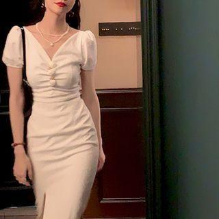 Image of Rose Applique Short Sleeve Slit Maxi Dress