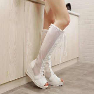 Platform Wedge Peep Toe Tall Boots 1050494282