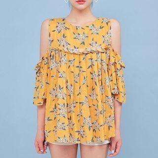 Cutaway-Shoulder Floral Print Top 1060685029