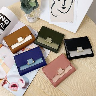Image of Color Panel Faux Leather Wallet