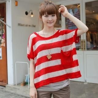 Buy CLICK Oversized Striped Knit Top 1022872757