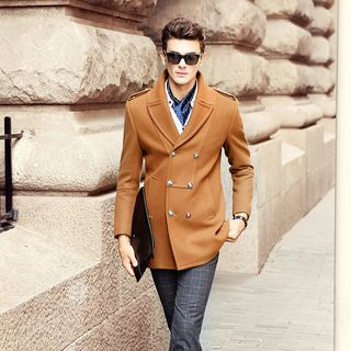 Image of Wool Blend Double-Breasted Coat