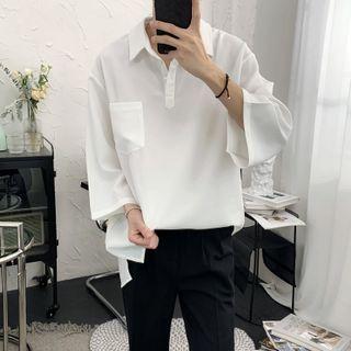 Image of 3/4-Sleeve Plain Half-Button Shirt