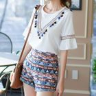 Set : Chevron Tasseled Frill Sleeve Top + Patterned Shorts 1596