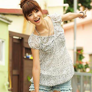Buy 59 Seconds Star Pattern Bubble Hem Chiffon Tunic White – One Size 1021972337