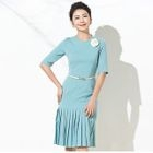 Elbow-Sleeve Pleated Sheath Dress 1596