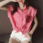 Heart Appliqu  Striped Sleeveless Shirt от YesStyle.com INT