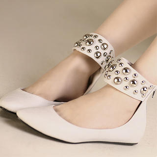 Buy Kvoll Studded Ankle-Strap Flats 1023069029