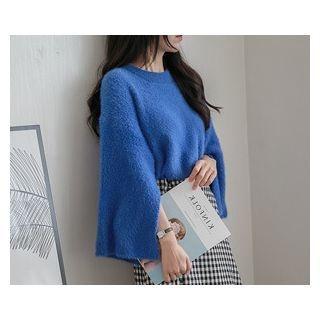 Drop-Shoulder Slit-Sleeve Knit Top 1054729544