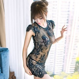 Set: Lace Nightdress + Thongs 1056800509