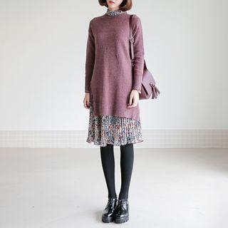 Set: Crew-Neck Sweater + Floral Print Dress 1056165932