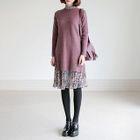 Set: Crew-Neck Sweater + Floral Print Dress 1596
