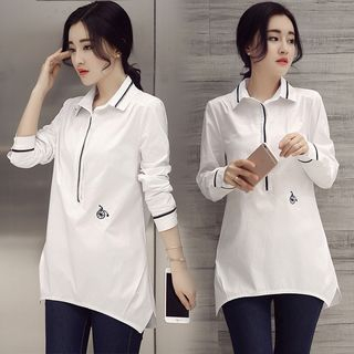 Image of Contrast Trim Blouse