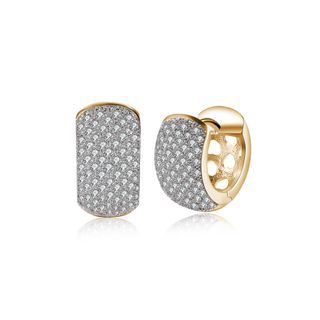 Sparkling Plated Champagne Gold Cubic Zirconia Earrings Champagne - One Size