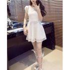 Lace Short-Sleeve A-Line Dress 1596