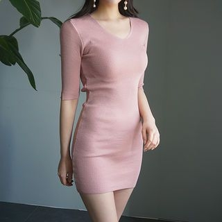 V-Neck Ribbed Knit Dress 1065316537