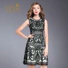 Sleeveless Applique A-Line Dress 1596
