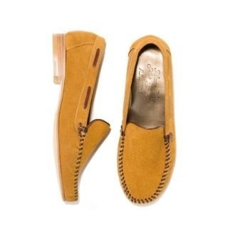 Genuine-Suede Contrast-Trim Loafers