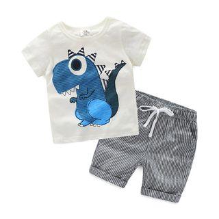 Short-sleeve   T-Shirt   Stripe   Short   Print   Kid