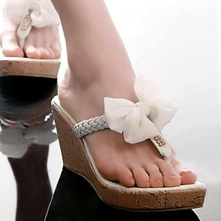 Buy Kvoll Bow Cork Wedge Mules 1022503208