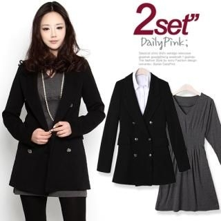 Buy Daily Pink Set: Double-Breasted Blazer + V-Neck Dress 1022510021