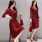Tie-Waist Long-Sleeve A-Line Dress 1596