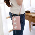 Star Print Long Wallet with Crossbody Strap 1596