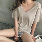 V-Neck M lange Linen Blend T-Shirt 1596