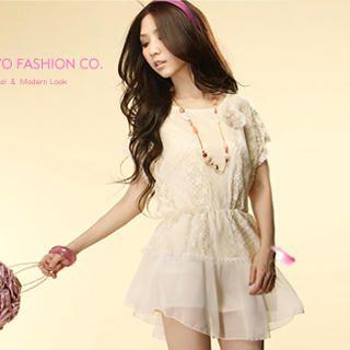 Buy Tokyo Fashion Flutter-Sleeve Lace Overlay Chiffon Dress 1022883026