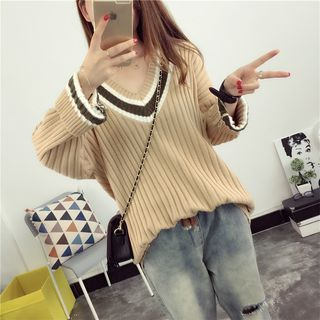 Ribbed V-Neck Striped Sweater 1052957738