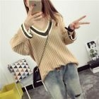 Ribbed V-Neck Striped Sweater 1596