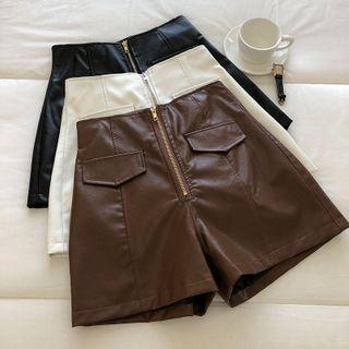 High-waist | Leather | Short | Faux