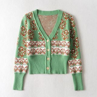 Floral Print Cardigan Green - One Size