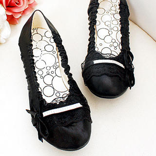 """Buy KAWO Lace-Trim """"Bow"""" Ruched Flats 1022919256"""