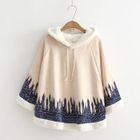 Long-Sleeve Hooded Cape Top 1596