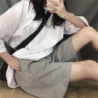 Image of Cotton Plain Elastic-Waist Shorts