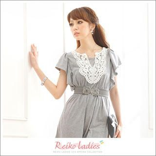Picture of Reiko Ladies Crochet Trim Smocked Dress Grey - One Size 1022972635 (Reiko Ladies Dresses, Womens Dresses, Taiwan Dresses)