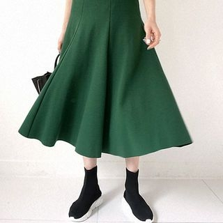 Band-Waist Flared Long Skirt 1064388858