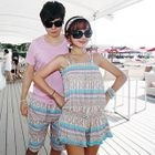 Couple Set: Patterned Bikini + Playsuit / Beach Shorts 1596