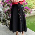 Embroidered A-line Midi Skirt 1596