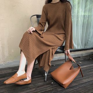 Rib Knit Long Sleeve Midi Dress 1062630841