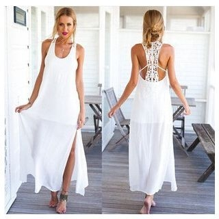 Spaghetti-Strap Open Back A-Line Plain Lace Sheath Dress 1064853943